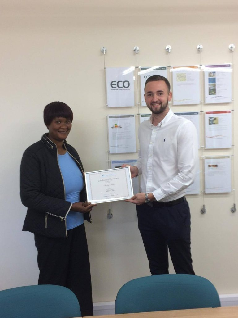 Aston Services Group Certificate for Shirley